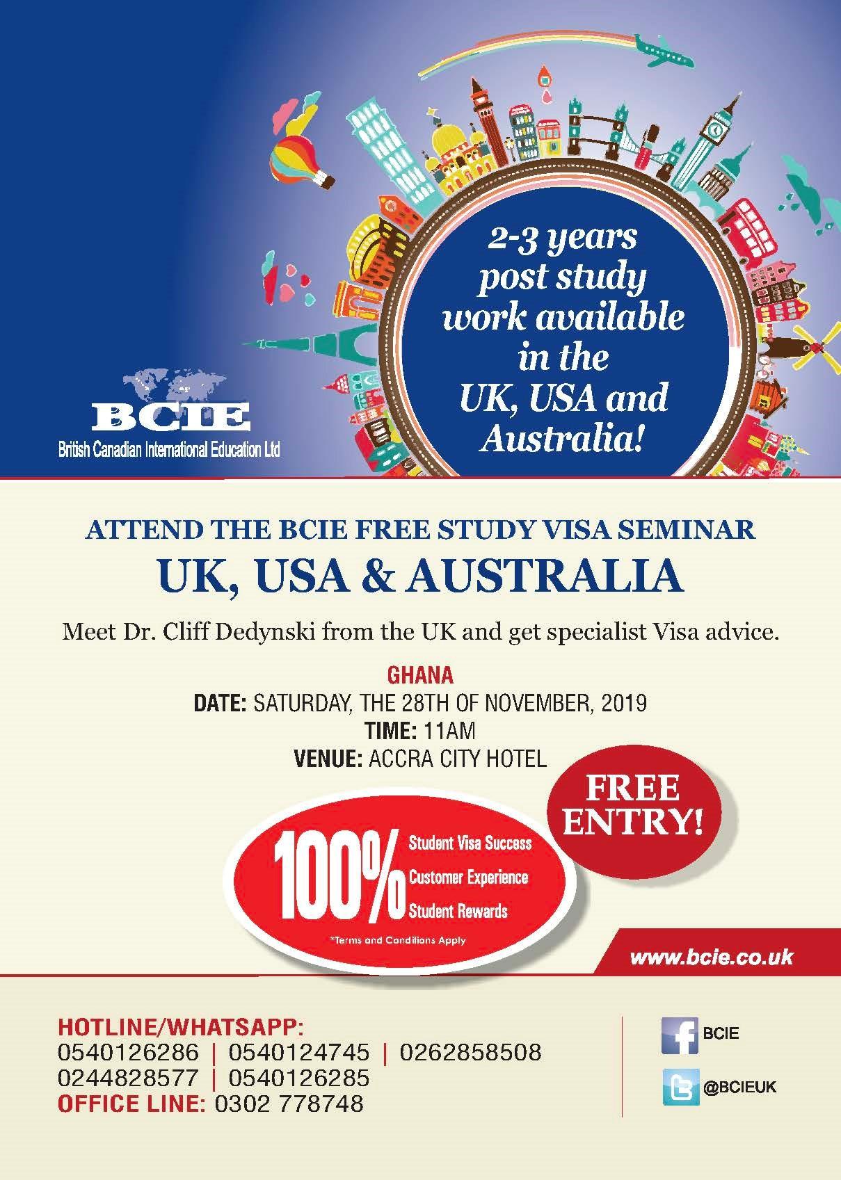 Bcie Free Visa Advice Seminar Ghana November 2019 Study In Australia